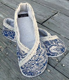 Fabric Slipper, French Blue, Cream, Ballet Flat Slippers, Kimono Slippers, Clothing, Shoes, House Slippers, Fancy That Slippers