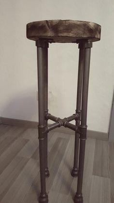 """Barhocker aus 1/2"""" Rohren und Eichenbohle - 1/2"""" pipe and oak chair"""