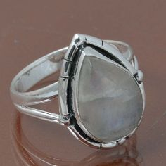 RAINBOW MOONSTONE 925 STERLING SILVER RING JEWELRY 4.55g DJR7033 SIZE 4.5 #Handmade #Ring