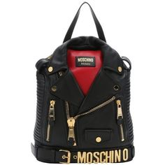 Moschino Pre-Owned black and red leather 'Biker Jacket' backpack ($1,656) ❤ liked on Polyvore featuring bags, backpacks, black, handbags, shoulder strap backpack, black rucksack, leather rucksack, black leather rucksack e leather zipper backpack
