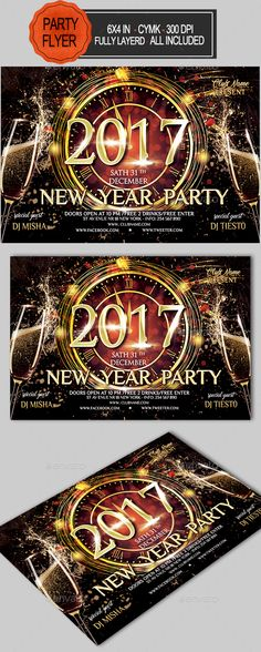 New Year Party Flyer  — PSD Template #2017 #gold • Download ➝ https://graphicriver.net/item/new-year-party-flyer/18458510?ref=pxcr
