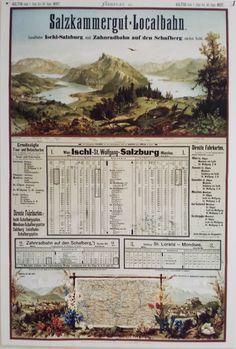 Fahrplan der Salzkammergut Lokalbahn - SKGLB - 1897 Salzburg, Travel Posters, Planer, Austria, Event Ticket, Vintage, Advertising, Vintage Comics