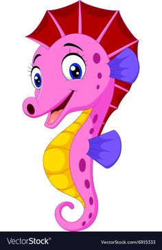 Cartoon watercolor Seahorse vector image on VectorStock Cute Disney Drawings, Art Drawings For Kids, Easy Drawings, Cartoon Pics, Cute Cartoon, Seahorse Art, Painting Templates, Fish Vector, Baby Painting