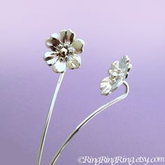Long Stem Anemone Flower Earrings, Sterling Silver Post Stud Earrings, Unique Gift Floral Jewelry For Her by RingRingRing on Etsy