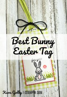 Super cute and easy Easter tag using Best Bunny stamp set from Stampin' Up!. Visit iStampin.com to learn more. Easter Gift, Easter Bunny, Flamingo Lights, Ink Pads, Dark Colors, Party Hats, Stampin Up, Happy Birthday, Super Cute