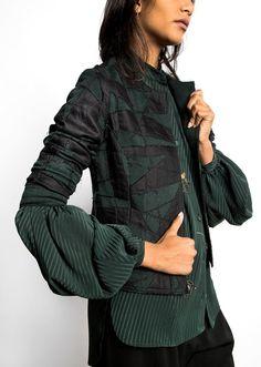 Pouf sleeved blouse under Jean jacket