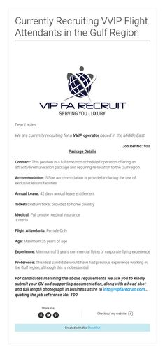Currently Recruiting VVIP Flight Attendants in the Gulf Region Attendance, Flight Attendant, Positivity, Optimism