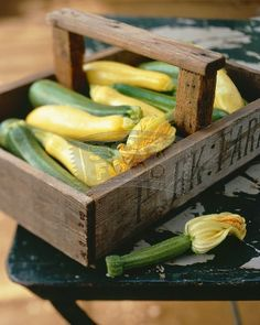 Old wooden crate with yellow squash!