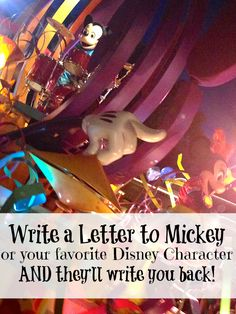 How to get a letter from your favorite Disney character. Here is the address to send a letter and get a free picture from Mickey or friends in return.