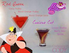 Disney Character Cocktails - Red Queen, Curiois Cat - Queen of Hearts, Cheshire Cat (Alice in Wonderland)