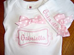Personalized Coming Home Oufit, Home From Hospital Outfit,  Layette Gown and Hat Set, Girls Coming Home Outfit, Newborn Gown, Monogrammed. $35.00, via Etsy.
