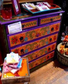 Colorful Mexican Table and Chairs | such as bright greens and blues warm oranges and reds