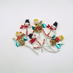 Vintage Picks Angels Snowman Package Tie Ons Christmas Decoration by efinegifts on Etsy
