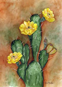 Prickly Pear by Sara Mullen ~ cactus flower - Kaktus Rock Cactus, Cactus Art, Cactus Flower, Flower Art, Cactus Plants, Cactus Decor, Cacti, Prickly Cactus, Indoor Cactus