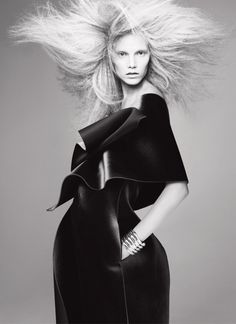 Fashion as Art - dramatic black leather dress with sculptural silhouette; 3D fashion // Emporio Armani