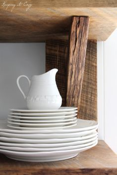 Keeping It Cozy: Reclaimed Wood Kitchen Shelves