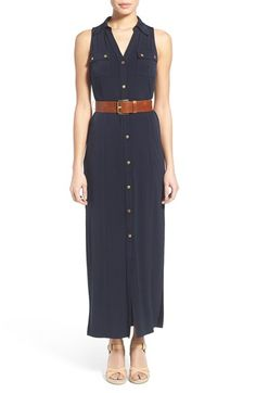 MICHAEL Michael Kors Belted Sleeveless Maxi Shirtdress available at #Nordstrom