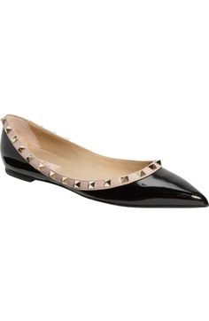 Valentino 'Rockstud' Ballerina Flat (Women) available at #Nordstrom
