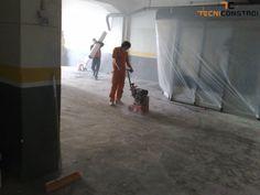 Projecto 162 - Pintura epoxy de pavimento de Oficina | Preparação de Pavimento - O pavimento encontrava-se degradado e com buracos.