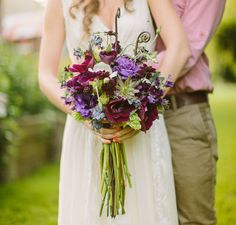 pretty purple and green bouquet