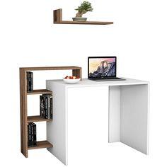 Γραφείο SWAN λευκό με καρυδί 118x60x90,8εκ Furniture, Computer Desk, Shelves, Corner Desk, Floating Shelves, Bookcase, Home Decor, Desk