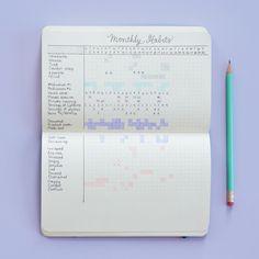 Você pode criar um rastreador mensal de hábitos para conseguir visualizar tudo: | Como monitorar sua saúde mental em um diário em tópicos