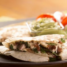 This Chicken and Spinach Quesadilla features savory bacon and mushrooms, too.