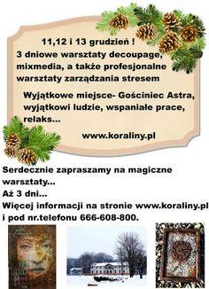 KORALINY - Pracownia i sklep decoupage: WARSZTATY DECOUPAGE, MIXMEDIA +ZARZĄDZANIE STRESEM Koraliny i Gościniec Astra zapraszają na Śląsk!
