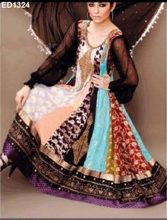 New Multicolor Designer Pishwas Wedding Special  von Kunsthandwerkfüralle auf DaWanda.com