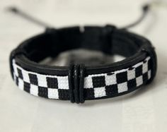 Cool Black Leather Cuff with a strip of Cotton Pattern Cloth Bracelet C-10