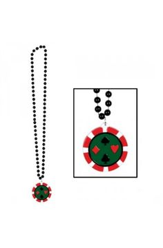 Beads with poker chip medallion - Las Vegas Casino Party Ideas