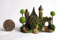 Handmade Miniature  FAIRYTALE CHARMING FAIRY COTTAGE HOUSE - by C. Rohal #CRohal