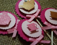 Glitter Teapot & Teacup Cupcake Toppers Pk of 20 by FromUrsTruly