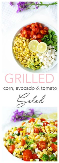 This grilled corn, tomato and avocado salad is topped with a flavour-packed honey lime dressing and is a delicious way to make use of the summer's seasonal produce. It makes a refreshing side dish to serve at those summer BBQs or picnics along with grilled chicken, fish or a juicy burger. {Vegetarian & gluten-free} | Haute & Healthy Living #corn #bbq #healthy #salad