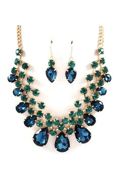 Raileen Necklace Set in Sapphire and Emerald Crystal -  I Save Free Silver Today... To Buy More Like This Tomorrow. ..http://tiny.cc/SaveFreeSilver...