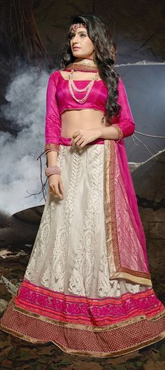 543459ab304539 Net Mehendi Sangeet Lehenga in White and Off White with Border work