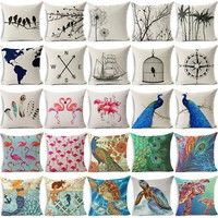 Buy 18 Inches Flamingo Peacock Bird Cotton Linen Home Decor Throw Pillowcase Cushion Cover at Wish - Shopping Made Fun