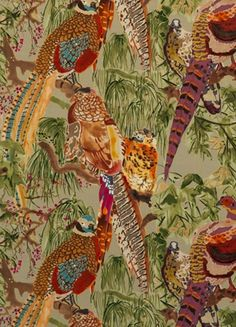 Velvet 'Game Birds' Mulberry Home fabric from the Bohemian Romance collection used on two chairs