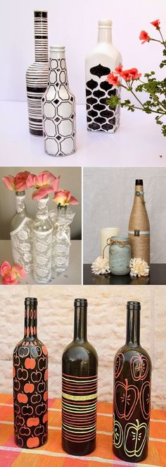 Decor bottles with their own hands - 50 ideas Wine Bottle Art, Painted Wine Bottles, Diy Bottle, Wine Bottle Crafts, Bottles And Jars, Bottle Painting, Diy Painting, Bottle House, Wine Decor