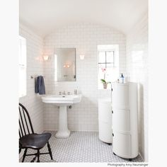 Nickey Kehoe bathroom with Kartell Componibilli storage