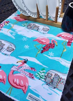 Camper Christmas Dish Drying Mat Pink by MakingSomethingHappy