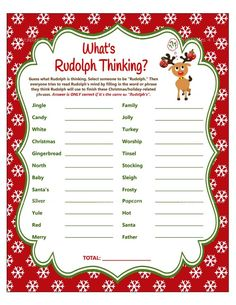 Finish My Phrase Christmas Game What's Rudolph Thinking | Etsy