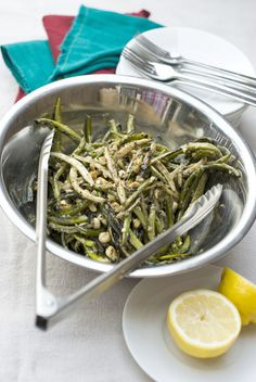 Recipe: Grilled string beans and garlic scapes in miso vinaigrette