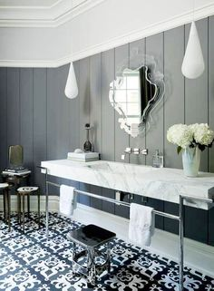 This makes me tingly I LOVE a trough sink and it's marble to boot (Plus check out the walls, floors molding DREAMY)   Okay just noticed it's not a trough sink...but I love it and I'd love it more if it was trough