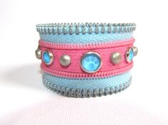 $16.57 Pink and Light Blue Bracelet with Recycled Zipper by gicreazioni