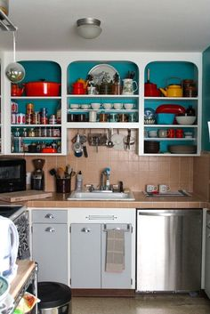 Open Kitchen Cabinets No Doors a vintage kitchen gets new spirit | modern, vintage kitchen and