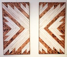 "Slate Gray Gallery | KATY PARNELLO | 'Double White X' (48""H x 48""W) White Wash Pine + Burned Pine, $1895.00"