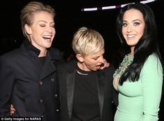 Wowser! Portia de Rossi and actress Ellen DeGeneres react with shock to Katy's plunging dress