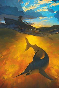 Магазин открыток cardinbox.ru - Почтовая авторская открытка по мотивам повести Э.Хемингуэя «Старик и море»