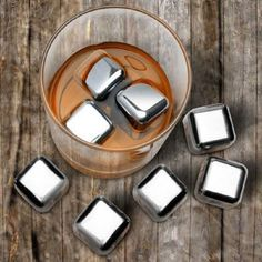 Custom Stainless Steel Ice Cubes Chilling Stones with Tongs for Whiskey Wine Made in USA Custom 1pcs